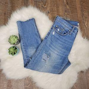 Zara distressed raw hem high waist jeans